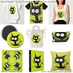 Black Unkempt Kitten GabiGabi (Black & Yellow green) #NekomeAndon #gabigabi #Cat