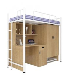UNiCOS Jumbo Bunk Bed With Study Table White - Add oodles of style to your home with an exciting range of designer furniture, furnishings, decor items and kitchenware. We promise to deliver best quality products at best prices. Room Ideas Bedroom, Small Room Bedroom, Bedroom Decor, Cool Loft Beds, Modern Bunk Beds, Bed For Girls Room, Bunk Beds For Boys Room, Bunk Beds With Stairs, Loft Bed Plans