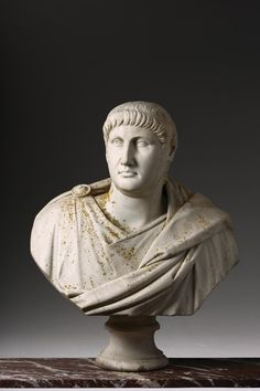 A Massive and Magnificent Italian Marble Bust of the Roman Emperor NeroLate 17th Century