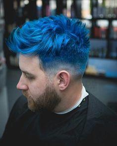 Mens Blue Hair, Short Blue Hair, Dyed Hair Men, Mens Hair Colour, Dark Blue Hair, Dyed Hair Blue, Dyed Hair Pastel, Hair Color Blue, Dye My Hair