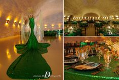 Awesome event at a Napa Wine Cave with our Emerald Sequin Full Length Linen Mesh Fabric, Emerald Green, Statue Of Liberty, Cave, Sequins, Glamour, Classic, Awesome, Creative