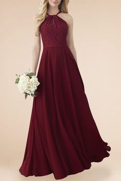 Bridesmaid Gowns Burgundy Lace and Chiffon Modern Halter Strap A-line Long Bridesmaid Dress - Bridesmaid.Design - Burgundy lace and chiffon modern A-line long bridesmaid dress. Sleeveless lace bodice with halter straps. Maroon Gowns, Burgundy Bridesmaid Dresses Long, Lace Bridesmaids, Bridesmaid Dress Styles, Burgundy Dress, Girls Dresses, Flower Girl Dresses, Burgandy Flower Girl Dress, Long Dresses