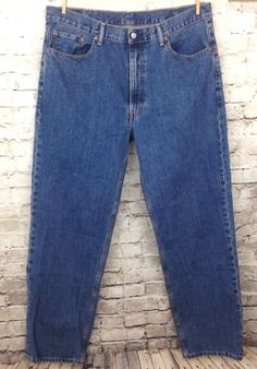 Levis 550 Mens 40x34 Relaxed Fit Classic Blue Jeans 100% Cotton Denim W40 L34 #Levis #Relaxed