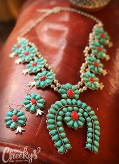 The Original Cheekys Brand ~ The Laura Squash Blossom Necklace and Earring Set! This necklace hangs about 17 inches long. Thank you for shopping Cheekys! Real Country Girls, Squash Blossom Necklace, Western Jewelry, Heart Earrings, Earring Set, Turquoise Necklace, My Style, Closet, Heart Pendants