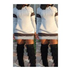 Rotita Long Sleeve Grey Pocket Design Hoodie Dress ($22) ❤ liked on Polyvore featuring dresses, grey, long-sleeve mini dress, collar dress, long sleeve collar dress, print dress and gray dress