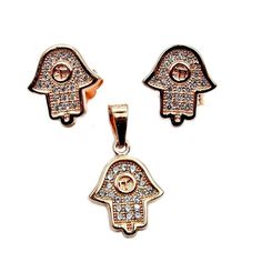 Hamsa Hand Evil Eye CZ & Rose Gold Over Sterling by TheSilverPlaza