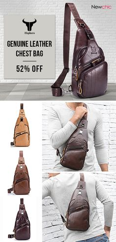 ecd43717da23 BULLCAPTAIN Bullcaptain Genuine Leather Large Size Chest Bag Sling Bag  Single-shoulder Crossbody Bag For Men is hot-sale