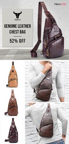 [52%off]Bullcaptain Genuine Leather Large Size Chest Bag Sling Bag Single-shoulder Crossbody Bag For Men #mens #fashion #bags