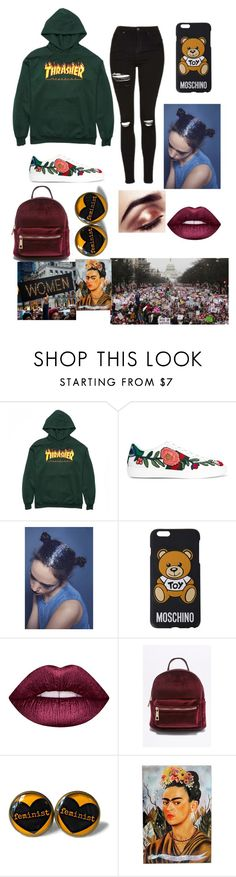 """""""Proud Feminist 💪👑"""" by that-1-awkward-friend1234 ❤ liked on Polyvore featuring Gucci, Moschino, Lime Crime and NOVICA"""