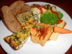 Sneak Peek Brunch Special This Weekend >> Meze Platter Brunch w/ Avanti organic herb & lemon hummus // Smoky babaganoosh // Organic frittata wedge // Organic South Coast Farms fresh vegetables & Avanti brunch rice w Romesco sauce +++ Fresh garlic ciabatta bread toast points :: Flavorful Art on a Plate  #healthy #delicious #yum #veggie #vegetarian #natural #organic #Avanti #vegan #meze #brunch #hummus #babaganoosh