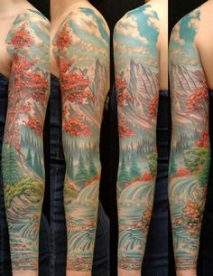 Amazing Colorful Nature Scene Tattoo On Left Full Sleeve By Russ Abbott