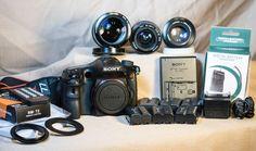 Sony BUNDLE Alpha A77 Digital SLR 24MP MINT & Minolta 70-210mm + 2 Lenses & MORE #Sony