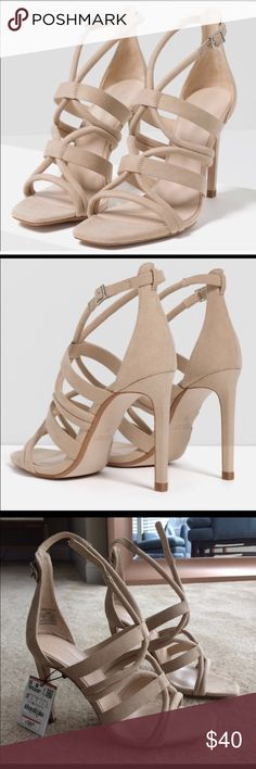 Brand new nude strapped heels Never worn - with tags - suede nude heel - perfect for work , datenight or even going out Zara Shoes Heels