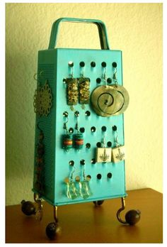 Jewelry display, refinished cheese grater neato!