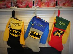 Batman and Robin Christmas Stocking, Embroidered with your name by PunkinPatchBags on Etsy---these ladies make awesome stuff! My biys, my niece, and I all have several of their products! Batman Christmas Tree, Felt Christmas, Christmas Crafts, Indoor Christmas Decorations, Christmas Tree Themes, Xmas Stockings, Xmas Ornaments, Robin, Avengers