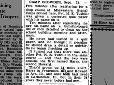 Harry E. Tuthill and Howard  E. Tuthill both at Camp Crowder,  23 Sept 1942