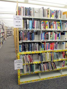 April Fools, but makes you think. Intergenerational library shelving: children's and adult non-fiction shelved together Library Organization, Library Shelves, Library Displays, Library Ideas, Presentation Pictures, Library Skills, Types Of Books, Media Specialist, Paradigm Shift
