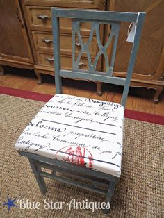DIY: Vintage French Chair Redo. To match french poem stencil. Possible master bedroom idea?