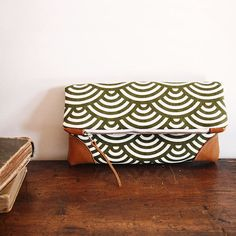 Foldover Clutch Purse/ olive green wave pattern and natural Tan Leather/ zippered clutch/spring/ June trend
