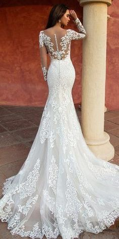 Wonderful Perfect Wedding Dress For The Bride Ideas. Ineffable Perfect Wedding Dress For The Bride Ideas. Mermaid Wedding Dress With Sleeves, Lace Back Wedding Dress, Fit And Flare Wedding Dress, Long Sleeve Wedding, Long Wedding Dresses, Mermaid Dresses, Bridal Dresses, Dresses With Sleeves, Tattoo Wedding Dress