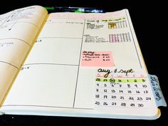 Write calendar on sticky note with tab. Bullet journal bujo school page layout setup spread idea00 (1)