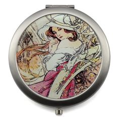 Makeup Mirrors w/ Vintage Four Seasons Design, Stainless Steel, Gift Box incl.