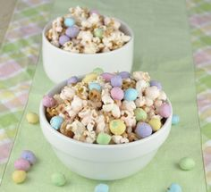 Salted Caramel Easter Popcorn with peanut M&Ms