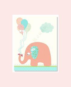 Coral Pink And Aqua Blue Nursery Print, Elephant Nursery Art, Baby Gorl Nursery Decor  by LittleMonde