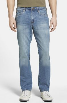 Denim 'Nash' Straight Leg Jeans (Medium Worn Wash) (Online Only)