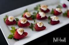 #Desserts | Strawberries filled with Marscapone cheese and topped with sliced almonds | Puff 'n Stuff Catering