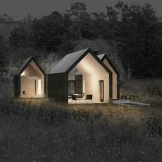 A cluster of 3 cabins in Noway.
