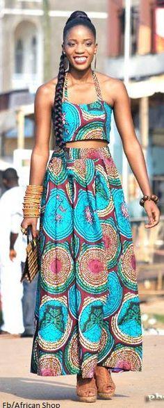 Ankara print cropped top and maxi skirt