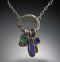 """Contemporary Jewelry - """"Boulder opal Treasure necklace"""" (Original Art from Patricia McCleery)"""