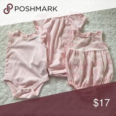 Set of 3 Old Navy and Gap Blush Rompers Excellent Used Condition. Blush Color. 3-6 Months GAP One Pieces