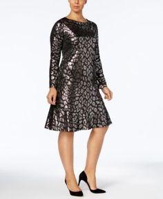 Michael Michael Kors Plus Size Metallic Flounce Dress - Black 3X