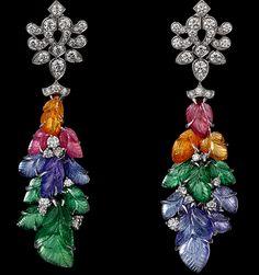 CARTIER HIGH JEWELRY EARRINGS  Platinum, mandarin garnets, pink tourmalines, tanzanites, tsavorite garnets, yellow diamonds, brilliants.