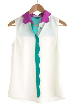 A sheer shirt with colorfully scalloped edges? Major #swoon.