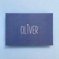 Geboortekaartje Oliver met kroontje in koperfolie Sugar