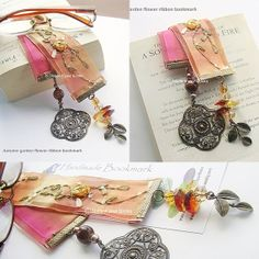 Autumn flower garden ribbon bookmark by Made4yourBooks on Etsy £9.50
