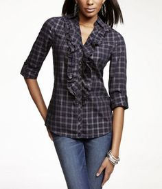 plaid. ruffled. great fit. i just wish it didn't have the lurex.