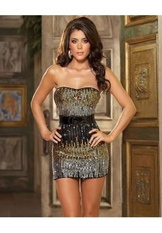 Strapless sequin clubwear dress has brown, silver and black tones comes with a belt and thong. The strapless sequin clubwear dress is a great party dress that is short, tight and sexy allowing you to dance away all evening. Club Dresses, Sexy Dresses, Beautiful Dresses, Short Dresses, Backless Dresses, Chiffon Dresses, Gorgeous Dress, Mini Dresses, Satin Dresses