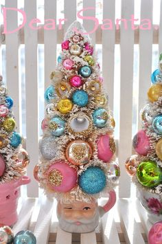 ornament tree in classic santa mug. very cute for table decorations.