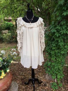 Ivory Ruffles | Soft flowing ruffle sleeve tunic | Cheerful Heart Gifts - Granbury, TX