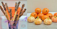 Cauldron Sticks and Fruity Pumpkins for a Halloween Party