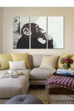 The Thinker Monkey by Banksy Canvas Print by iCanvasART on Banksy Canvas Prints, Canvas Wall Art, My Living Room, Living Room Decor, Living Area, Living Spaces, Relaxation Room, Relaxing Room, Take A Seat