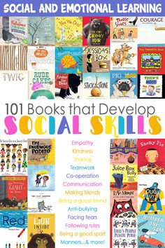 101 Books That Build Friendship, Communication & Social Skills Help you child develop important lifelong skills and behaviours with this great big list of 101 fabulous picture books about friendship, communication and other social skills. Social Skills Activities, Teaching Social Skills, Book Activities, Social Skills Lessons, Character Education Lessons, Shape Activities, Teaching Character, End Of Year Activities, Character Counts