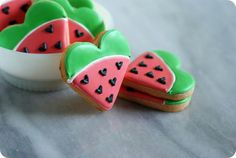 I heart watermelon.watermelon flavored & decorated cut-out cookies. Cut Out Cookie Recipe, Cut Out Cookies, Cute Cookies, Cupcake Cookies, Cookie Recipes, Cupcakes, Cookie Favors, Baby Cookies, Flower Cookies