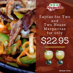 Hola! Come and enjoy our Monday special --- Fajitas for Two and Two House Margaritas for only $22.95. Usher in the good vibes. Have a great week everyone! | 3 Margaritas - Orchard Mall - Google+ Monday Specials, Fajitas, Westminster, Mall, Restaurant, Google, House, Food, Margaritas