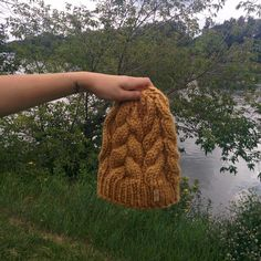 Fall Beanie - Cable Knit Hat in Mustard