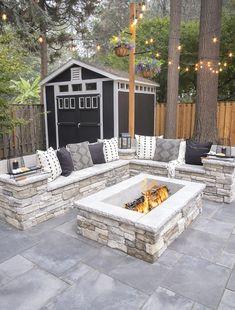 Small Backyard Patio, Outdoor Patio Designs, Small Backyard Design, Backyard Seating, Fire Pit Backyard, Outdoor Projects, Patio Ideas, Diy Patio, Outdoor Decor
